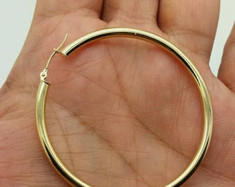 14k Yellow Gold High Polish Tube Hoop Earrings 3x50mm