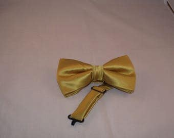 Gold Bow Tie + Pocket Square Set