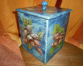 Box for a nuts, Kitchen box, Storing box, Box, Wooden box, Timber box, Food storage container.