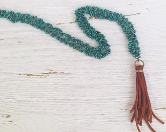 Leather and Wood Tassel Necklace, Tassel Necklace, Bohemian Jewelry, Wood Bead Necklace, Long Beaded Necklace, Statement Necklace