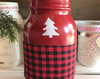 Christmas country red distressed antique mason jar luminary with buffalo check ribbon