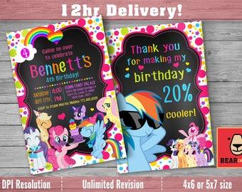 My Little Pony Invitation with FREE Thank you Card! My Little Pony Birthday Invitation, Pinkie Pie Invitation, Rainbow and Dash Invitation