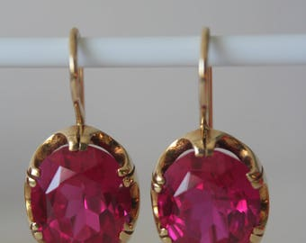 Vintage 18K 750 ROSE GOLD Russian Soviet USSR earrings