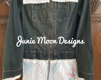 Custom repurposed denim jacket with vintage embroidered linen trim