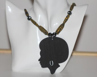 Necklace, afrocentric, african fabric beads, afro woman, african woman, woman sillhouete, beads, ankara, evil eyes bead, lucky charm beads