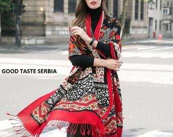 Pashmina Shawl Red Pashmina Scarf Red Black Scarves Wedding Shawl Boho Shawl Flowers Cashmere Scarf Oversized Wool Scarves Bohemian Shawl