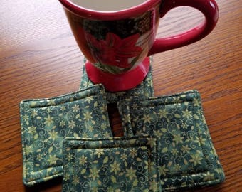 Fabric Reversible Quilted Coasters Set of 4