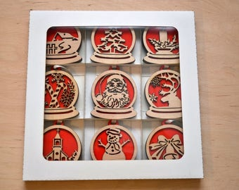 Set of 9 wooden Christmas tree ornaments (Christmas decorations)