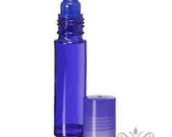 864 (Wholesale case pk- 6 gross) BLUE 10 ml -1/3 oz Glass ROLL ON Bottles/Matching Cap. Aromatherapy Perfume Body Fragrance Attar Oil Supply
