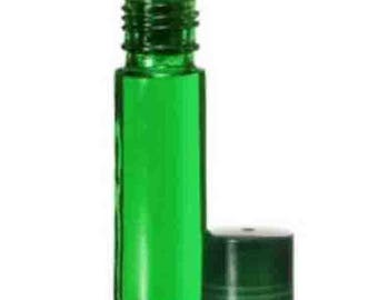 864 (Wholesale case pk-6 gross) GREEN 10 ml- 1/3 oz.Glass ROLL ON Bottles/Matching Cap. Essential Perfume Body Fragrance Aromatherapy Oil