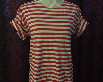 Thrifted 90's Red and White striped Tee