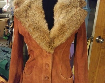 Vintage Leather and Fur Coat. 1970's Leather and rabbit fur leather coat/leather jacket.