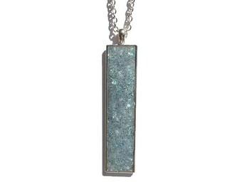 Drop pendant, drop necklace, bar pendant, crystal pendant, boho, under 20 dollars, geode pendant, druzy, rectangle pendant, blue druzy