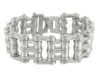 1 inch Wide All New BRUSHED Finish Double Roller Design Stainless Steel Motorcycle Chain Bracelet