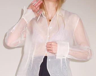 Gorgeous vintage ivory sheer button down blouse with crystal buttons