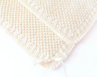 Crochet baby blanket | Knitted Baby Blanket | Christening  Blanket | Pram Blanket | Baby Shower Gift |