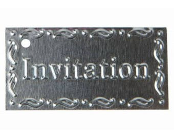 "Set of 6 silver metal ""Invitation"" tag"