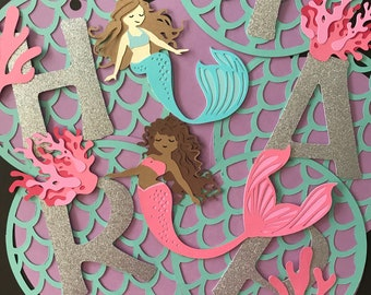 Mermaid Happy Birthday Banner