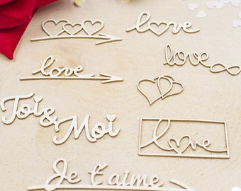 """Words and hearts """"in love"""" for Scrapbooking, creative card making, Home decor"""