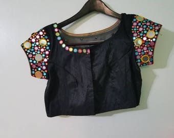 Black foil mirror work  Rawsilk blouse