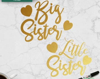 Big Sister SVG, Little Sister SVG, Cut Files, Sisters svg, Cut file for cricut, Silhouette, Sister Love, svg, dxf, png, jpeg, Commercial Use