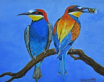 A4 Giclée Print entitled 'East Leake Bee Eaters 2' from an original acrylic painting by artist Martin Romanovsky