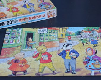 VINTAGE 80 Piece RUPERT the BEAR Jigsaw Puzzle by Hope 1970s