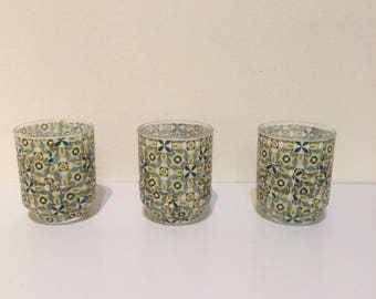 Set of 3 decoupage tealight holders