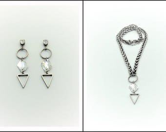 Triangle jewelry set, Geometric jewelry, Jewelry set, Earrings necklace, Modern jewelry set, Abstract jewelry, Jewelry gift, Gift for her