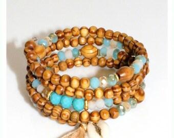 Wrap bracelet, Beaded bracelet, Tassel bracelet, Wood bead bracelet, Bracelet gift, Bead bracelet, Wooden jewelry, Stacking bracelet