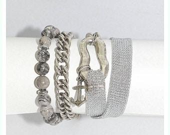 Gray wrap bracelet, Gray bracelet, Wrap bracelet, Modern jewelry, Anchor bracelet, Anchor charm, Bracelet gift, Layer bracelet, Gift women