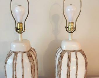 Faux bamboo lamps pair Hollywood Regency Oa Beach Chic at Florida classics