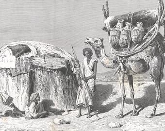 Somalia 1888, Gourgui Medjourtine of Kismayo, Old Antique Vintage Engraving Art Print, Woman, Camel, Luggage, Branches, Pitchers, House