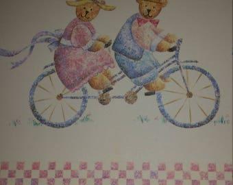 Vintage Greeting Card - Sangamon Bears Riding Bicycle Blank Card