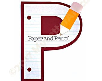 P is for Paper and Pencil (Letter Craft Kit or Wall Art)