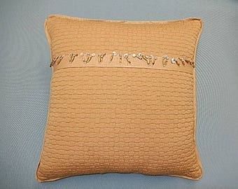 Gold Jacquard Pillow - Gold - Decorative, Couch, Living Room, Bed Pillow