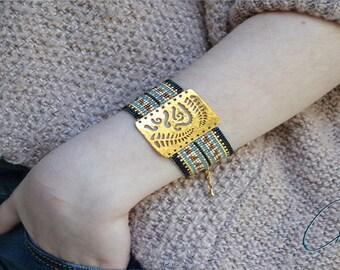 Aya woven bracelet beads Miyuki - beads, gold, black, Brown, beige, Taupe, gray