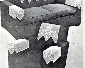 PDF Crochet Pattern, Sette and Arm Rests, Chair Back set , in FloralRibbon Design, in Filet Crochet