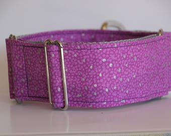 "Greyhound - Purple with Silver dots 2"" Martingale Collar"