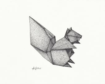 Origami Squirrel (pen and ink drawing)