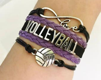 Volleyball bracelet, Volleyball gift, Volleyball jewelry, Volleyball Mom Gift , Sports Team jewelry, Infinity Volleyball, Black/Purple
