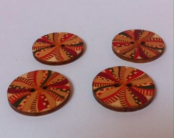 Set of 4 wooden buttons for sewing or scrapbooking nature theme 3 cm