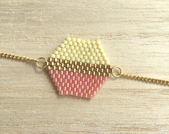 Pink and pale yellow Hexagon bracelet