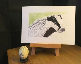 BADGER art, badger print, Badger picture, badger painting, wildlife, forest, home decor, gift, animal, nature, present, artwork