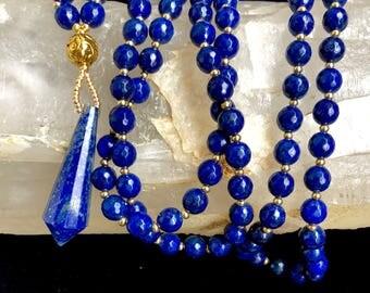 SALE-Visionary Lapis Mala with Lapis Lazuli Vogel Point Pendant