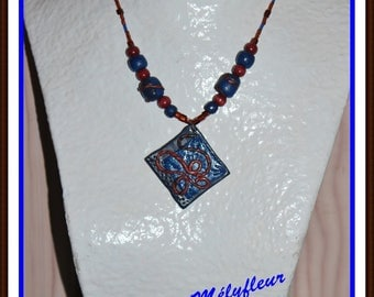 Blue and Brown, OOAK necklace