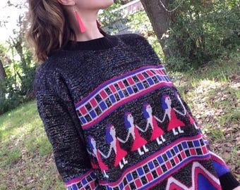 Vintage centennial knits ltd 1980s Walk like an Egyptian sweater!