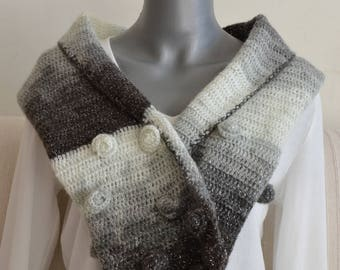 long scarf knitted in one hook with beautiful roses in white, grey, black and metallic