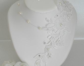 White wedding Sofia guipure Venice lace necklace off-white light ivory pearls and swarovski rhinestones