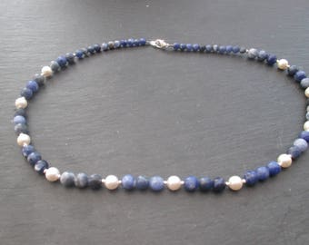 Sodalite and Swarovski Pearl Necklace